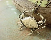 Crab Nautical Pendant Necklace Sea Life Ocean Critter Crustacean Brass Unisex gift box