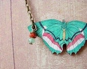 Butterfly Necklace in Bright Teal Green Moth Pendant gift for Naturalist Butterfly Collector Bug Collector