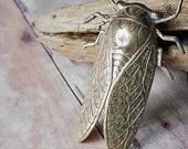 Cicada Brooch, Gold Brass, Unusual Insect Bug Wings Unisex, Gifts under 20, Ready to ship, Gift Box