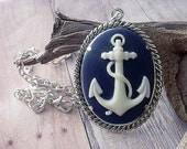 Nautical Anchor Cameo Pendant Silver Navy Blue White Necklace Cruise Beach Ocean Sea Gift for Her Gift Box