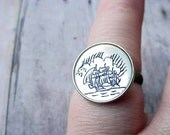 Nautical Ring Vintage Mother of Pearl Scrimshaw Etched Adjustable Ring -