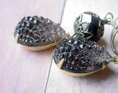 Black Earrings Evening Wedding Dramatic Holiday Shimmer Gold Sugar Crystals Dangle Gift for Her