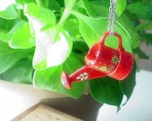 CIJ Red Watering Can Pendant Gardening Necklace Spring Garden Summer Flowers Gift for Gardener Gift Box