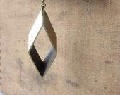Rhombus Geometric Lariat Necklace Industrial Machine Cut Antiqued Brass Modern Gift Box