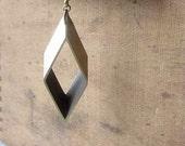Rhombus Geometric Lariat Necklace Industrial Machine Cut Brass Modern Gift Box