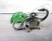 Apatosaurus Silver Earrings with Green Czech Glass Leaf Gift for Her Under 10