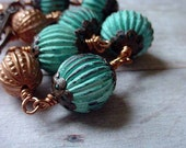 Rustic Green Verdigris Copper Wire Wrapped Bracelet