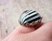 Circus Stripe Black and White Adjustable Ring