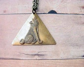 Howl at the Moon Unisex Geometric Triangle Wolf Pendant - Under 25 - Gift for Man