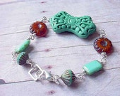 Teal Blue Cinnabar Bracelet, Carnelian Orange Czech Glass, Bohemian, Silver