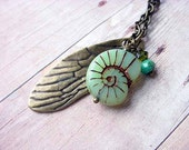 Insect Wing Entomology Pendant with Czech Glass Pale Mint Green Opal Snail Shell Gift for Her