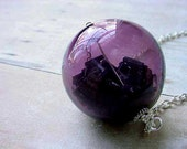 Orb Pendant Hollow Purple Glass Ball With  Black Bugle Beads Christmas Keepsake Gift for Her Under 50 Free Shipping