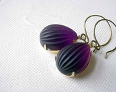 Amethyst and Gold Earrings  Vintage Purple Frosted Melon Glass Dangles Brass  Gift for Her  Under 25 Gift Box