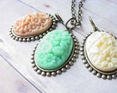 Pendant Set Three 3 Pendants in Peach, Mint Green and Ivory Floral Cabochons Gift for Her Mother's Day  Gift Box