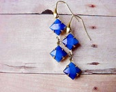 Deep Blue Glass Earrings Vintage Faceted Cabochons in Gold Brass Dangles Romantic Gift for Her Under 25 gift Box