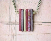 Spikes Pendant Ceramic Spikes Necklace in Shades of Deep Red and Lilac Gift Box