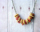 Lampwork Glass Necklace Tiny Mustard Yellow Rust Orange Rings Gift for Her Gift Box
