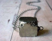 Pyrite Cube Pendant Rustic Metallic Silver Gold Gemstone Necklace Gunmetal Chain Unisex Gift Box