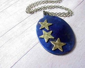 Celestial Pendant Midnight Blue Sky Hammered Gold Stars Patina Brass Necklace Gift Box