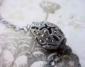 Sterling Silver Marcasite Bead Necklace Vintage Pendant Gift Box