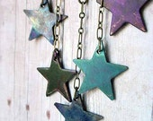 Celestial Blue Stars Necklace Copper Patina Star Dangles in Indigo, Persian Blue and Violet Gift Box