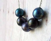 Night Blues Necklace Copper Bead Patinaed Indigo Midnight Blue and Violet Celestial Gift for Her Gift Box
