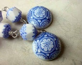 Scandinavian Earrings Delft Blue and White Mosaic Dangles Silver Danish Folk Spring Fashion Gift Box
