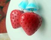 Strawberry Earrings Fresh Summer Fruit Dangles Red and Sky Blue Gift for Gardener Gift Box