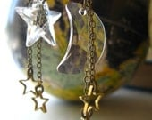 Moon and Stars Earrings Celestial Swarovski Crystal Gold Stars Brass Dangles Chain Gift Box