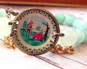Amazonite Bracelet with Miniature Vintage Painted Brass Plate George Washington and Martha Americana Dollhouse Unique Gift Box