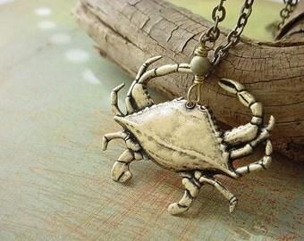 Crab Nautical Pendant Necklace Sea Life Ocean Critter Crustacean Brass Unisex gift box