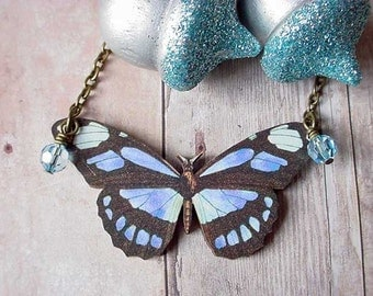 Blue and Black Moth Necklace Pendant