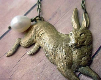 Rabbit Necklace,  Bunny Pendant with Pearl,  Easter,  Spring, Woodland, Nursery Rhyme, Fairy Tale,  Gold Antiqued Brass, Gift Box
