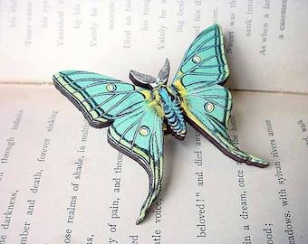 Luna Moth Brooch, Aqua Green Butterfly, Gift for Naturalist