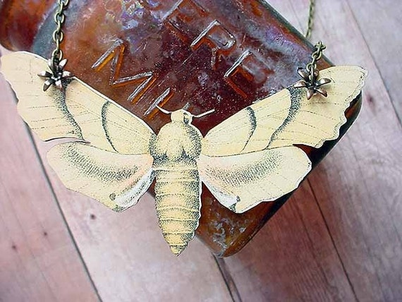 Yellow Moth Pendant Giant Butterfly Necklace Summer Naturalist Gift Box