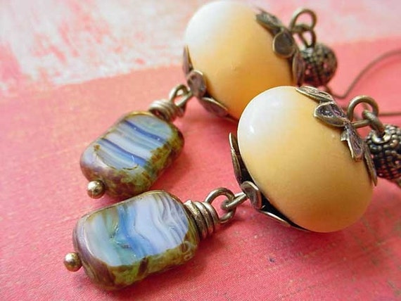 Mustard Yellow and Blue Earrings Czech Glass Cobalt Saffron Honey Amber Dangles Autumn Sky