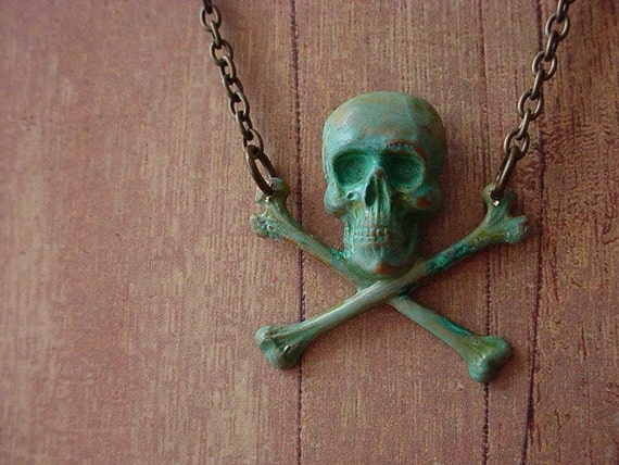 Skull and Crossbones Necklace - Moldy Bones - Halloween - Verdigris Green Patina Finish