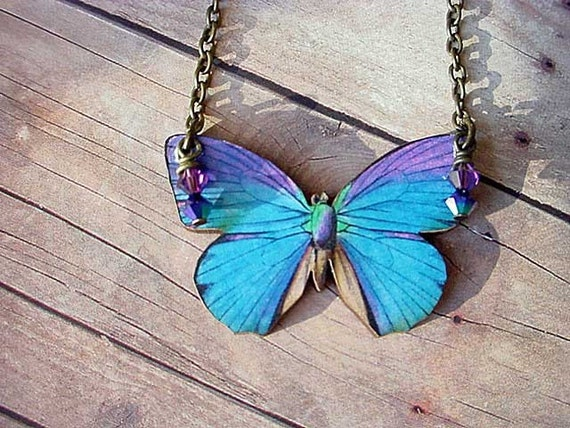 Blue and Purple Butterfly Pendant Moth Necklace