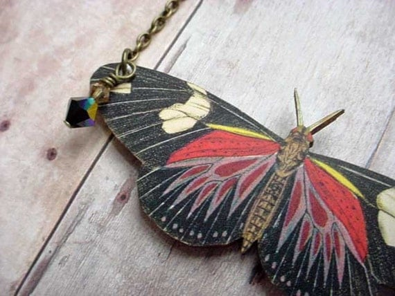 Red and Black Moth Pendant Large Butterfly Necklace