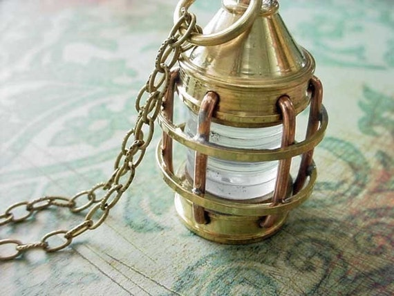 Nautical Lantern Brass Pendant Necklace Marine Unisex Gift for Him or Her Gift Under 50