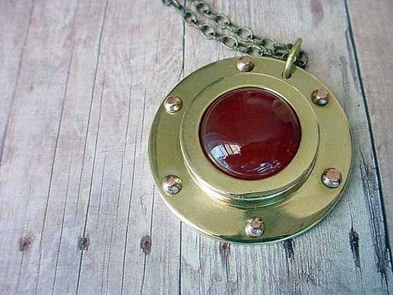 Black Friday Cyber Monday Nautical Porthole Pendant Brass Carnelian Cruise Ship Necklace Unisex Gift