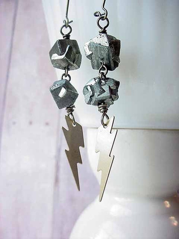 Lightning Bolt and Pyrite Nugget Earrings  Under 25  Gift For Her  Gift Box