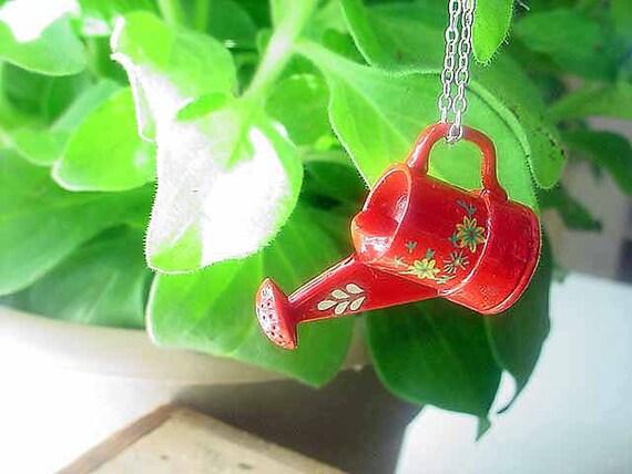 CIJ Red Watering Can Pendant Gardening Necklace Spring Garden Summer Flowers Gift for Gardener Gift Box