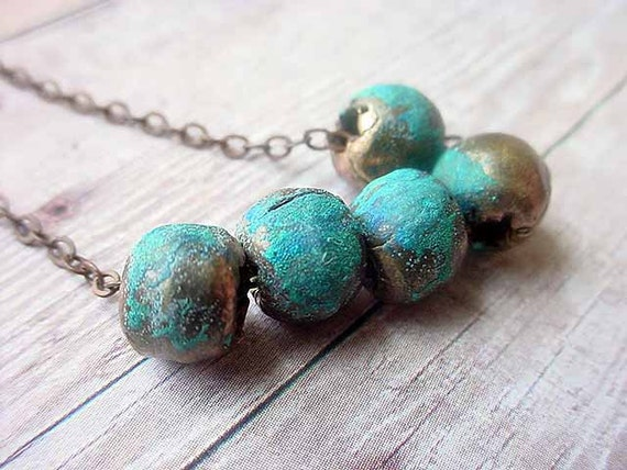 Rustic Tribal African Brass Bead Necklace with Verdigris Turquoise Patina Boho Bohemian