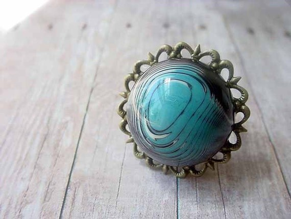 Topographic Ring Adjustable Teal Blue