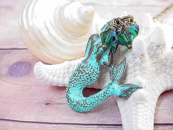 Mermaid Pendant Turquoise Necklace Nautical Aquamarine Sea Ocean Gift Box