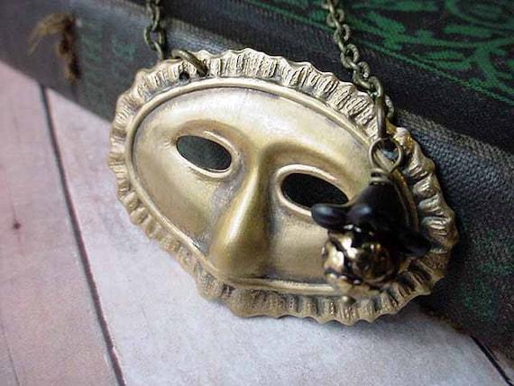 Masquerade Necklace - Halloween Costume - Venetian Carnivale Mask Pendant