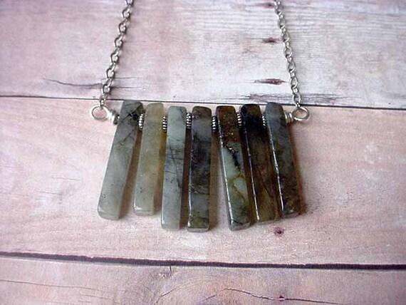 Labradorite Spikes Necklace- Smoky Charcoal Grey Gemstones