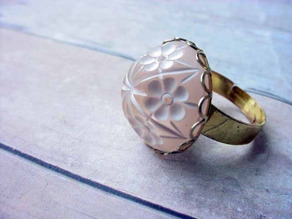Pink Japanese Cherry Blossom Ring - Gold Brass Adjustable - Gift box