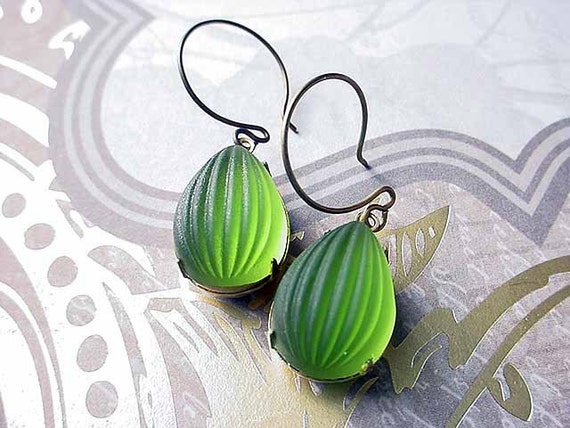 Olivine Green Earrings - Frosted Glass Gold Holiday Dangles Gift For Her Under 25 Vintage Ribbed Melon Glass Pear Cabochons